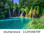lakes with blue water and...   Shutterstock . vector #1129348709