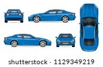 blue car vector mockup on white ... | Shutterstock .eps vector #1129349219