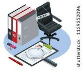 isometric job recruiting... | Shutterstock .eps vector #1129352096