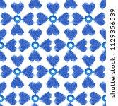 seamless pattern blue ikat... | Shutterstock . vector #1129356539