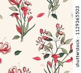 trendy floral pattern. isolated ... | Shutterstock .eps vector #1129365503