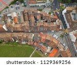 aerial view over schaffhausen... | Shutterstock . vector #1129369256