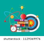 red apple on pile of books ... | Shutterstock .eps vector #1129369976