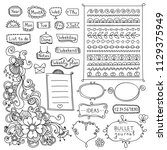 bullet journal hand drawn... | Shutterstock .eps vector #1129375949