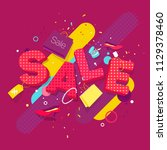 banner sale in the style of pop ... | Shutterstock .eps vector #1129378460