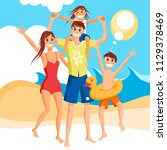 happy family vacation together... | Shutterstock .eps vector #1129378469