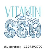 lettering vitamin sea. hand... | Shutterstock .eps vector #1129393700