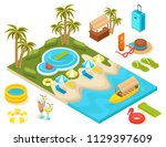 isometric 3d set of tourist... | Shutterstock .eps vector #1129397609