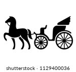 vintage horse drawn carriage....   Shutterstock . vector #1129400036