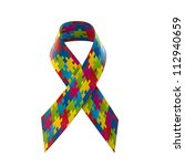 autism awareness ribbon | Shutterstock . vector #112940659