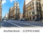 streets of barcelona  spain  ... | Shutterstock . vector #1129411460