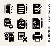 set of 9 paper filled icons...