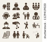 set of 16 people filled icons... | Shutterstock .eps vector #1129419020