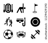 set of 9 sports filled icons...   Shutterstock .eps vector #1129429190