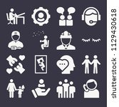 set of 16 people filled icons...   Shutterstock .eps vector #1129430618