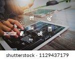 roi return on investment... | Shutterstock . vector #1129437179