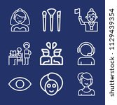 set of 9 woman outline icons... | Shutterstock .eps vector #1129439354