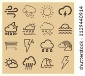 set of 16 weather outline icons ...   Shutterstock .eps vector #1129440914