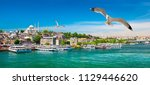 touristic boats in golden horn... | Shutterstock . vector #1129446620