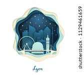 paper art illustration of lyon. ... | Shutterstock .eps vector #1129461659