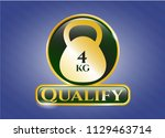 golden badge with 4kg... | Shutterstock .eps vector #1129463714