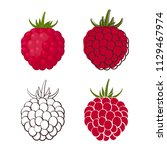 set of colorful raspberry icons ... | Shutterstock .eps vector #1129467974