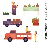 flat farmer products delivery... | Shutterstock .eps vector #1129477070