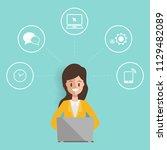 businesswoman character in job... | Shutterstock .eps vector #1129482089