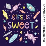 linocut style sweets and candy... | Shutterstock .eps vector #1129482209
