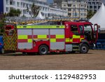 Small photo of Eastbourne Sussex UK July 8th 2018: East Sussex Fire Service demonstrate one of their fire engines at the Eastbourne 999 Weekend