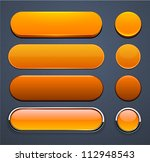 set of blank orange buttons for ... | Shutterstock .eps vector #112948543