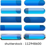 set of blank blue buttons for... | Shutterstock .eps vector #112948600