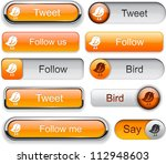 Bird Orange Web Buttons For...