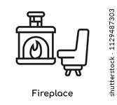 fireplace icon vector isolated...   Shutterstock .eps vector #1129487303