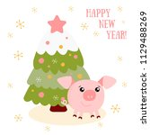 vector illustration of pig with ... | Shutterstock .eps vector #1129488269