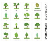 set of 16 icons such as tree ...