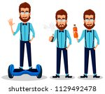 young bearded hipster man in... | Shutterstock .eps vector #1129492478