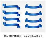 blue glossy ribbon vector...   Shutterstock .eps vector #1129513634