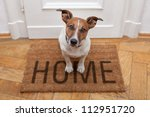 dog welcome home on brown mat | Shutterstock . vector #112951720