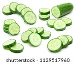 cucumber collection isolated on ... | Shutterstock . vector #1129517960