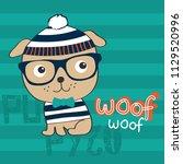 Stock vector cute dog cartoon vector illustration t shirt graphics design 1129520996