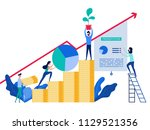 people working together and... | Shutterstock .eps vector #1129521356