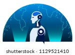 robot cybernetic and earth... | Shutterstock .eps vector #1129521410