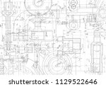 technical drawing background . | Shutterstock .eps vector #1129522646