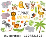 set of isolated jungle animals... | Shutterstock .eps vector #1129531523