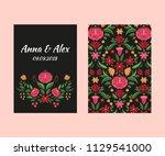 autumn wedding save the date... | Shutterstock .eps vector #1129541000