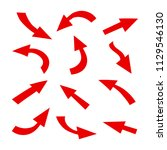 set arrow icon. different red... | Shutterstock .eps vector #1129546130