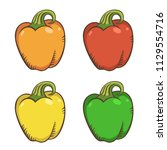 four peppers cartoon isolated... | Shutterstock .eps vector #1129554716