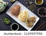 assortment of japanese soba... | Shutterstock . vector #1129557950