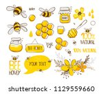 Stock vector set of bee honey lettering and other beekeeping illustration vector eps 1129559660